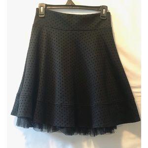 Joe B. Tea Length Black Polka Dot Skirt